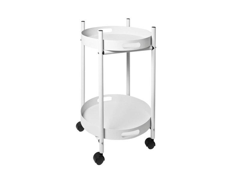 Pusher Chariot de cuisine Simple - blanc - 2 plateaux amovibles
