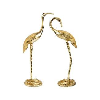 &klevering Beeld Kraanvogels - goud - set van 2 - H 58 cm