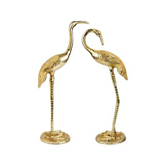 &klevering Statue Crane Birds - gold - set of 2 - H 58 cm