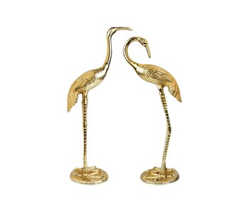 Statue Crane Birds - gold - set of 2 - H 58 cm