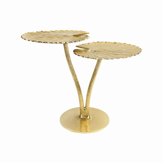 Side Table Water Lily Leaf - gold - H 54 cm