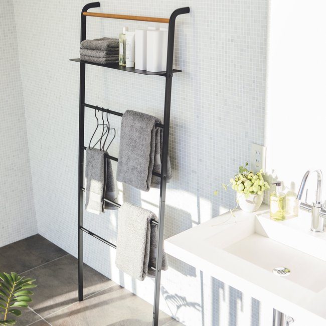 Rack-Leiter Wide Tower - schwarz - mit Ablage