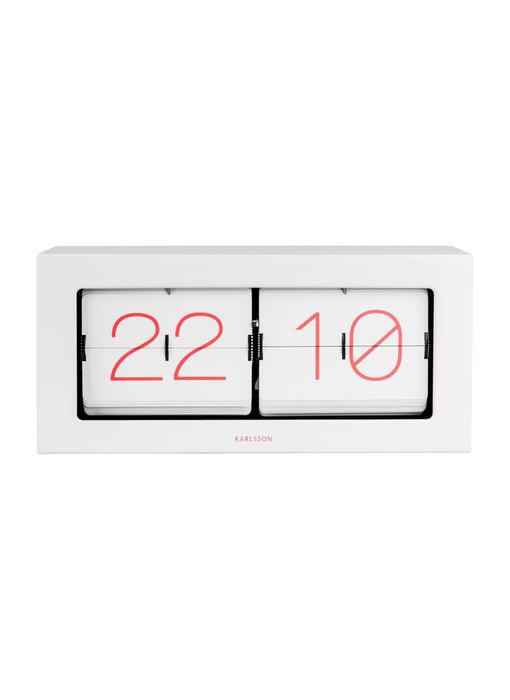 Horloge Flip Clock Boxed XL - blanc/rose