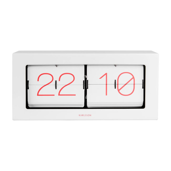 Karlsson Flip Clock Boxed XL - white/pink