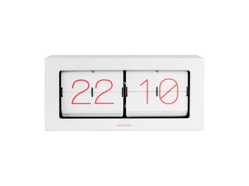 Karlsson Karlsson Horloge Flip Clock Boxed XL - blanc/rose