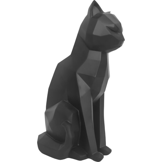 Present Time - Statue Origami Chat - assis - noir