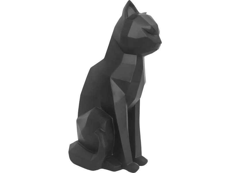 Present Time Present Time - Statue Origami Chat - assis - noir
