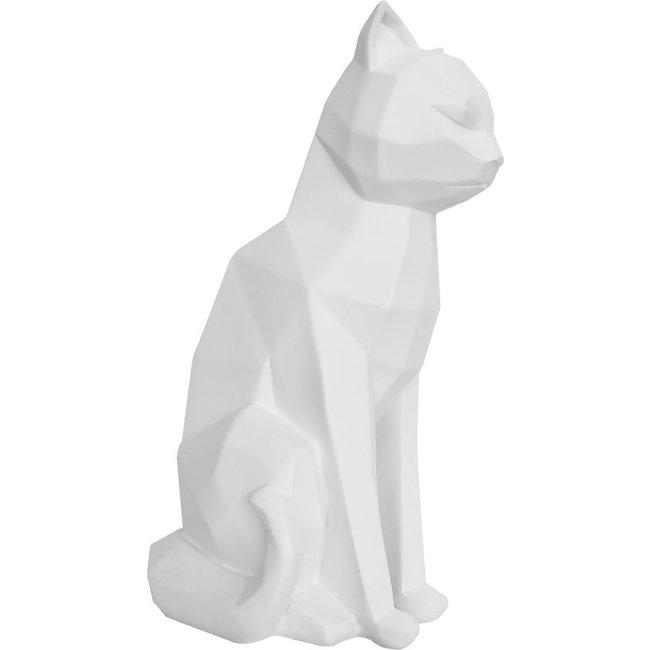 Present Time - Statue Origami Cat - sitting - white