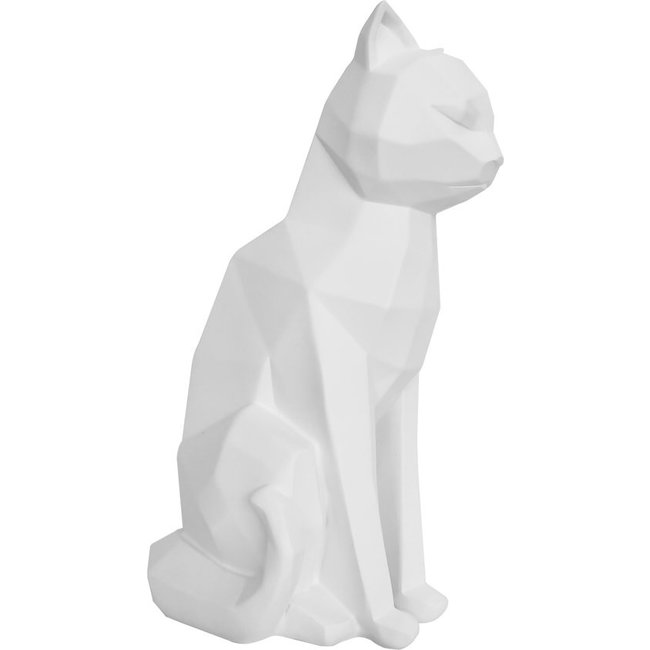 Present Time - Statue Origami Chat - assis - blanc