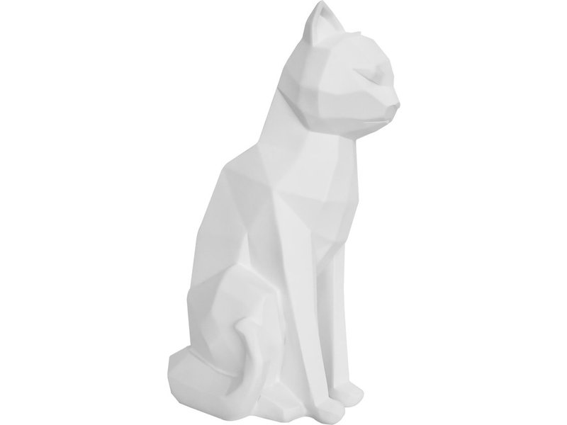 Present Time Present Time - Statue Origami Chat - assis - blanc