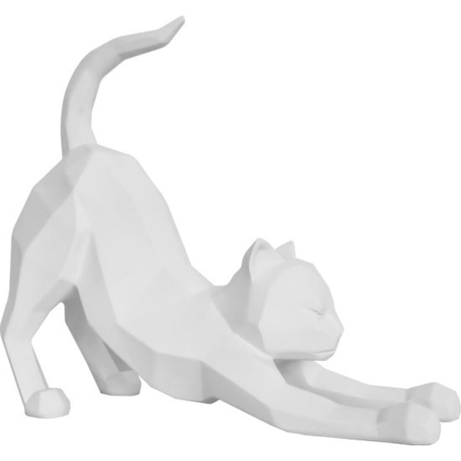 Present Time - Statue Origami Chat - stretching - blanc