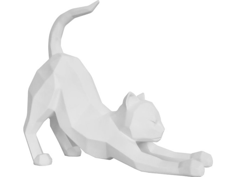 Present Time Present Time - Statue Origami Cat - stretching - white