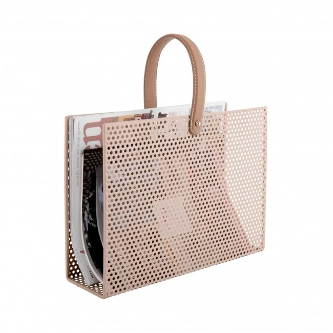 Present Time Magazine Rack Perky Mesh - sand brown