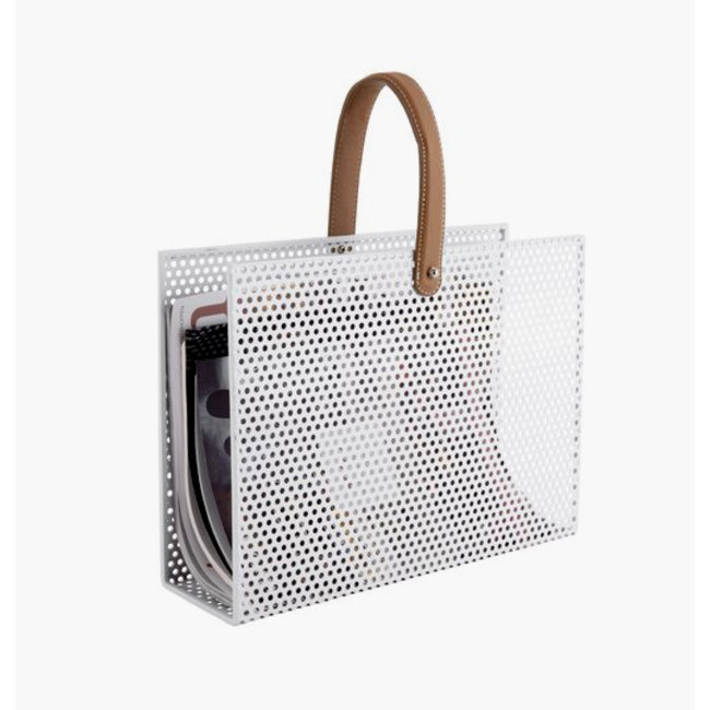 Present Time Magazine Rack Perky Mesh - white