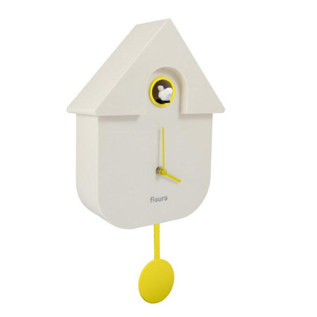 Fisura Klok - Koekoeksklok Cuckoo House - wit- geel