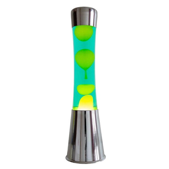 Fisura - Lampe à Lave - chromé - lave jaune, liquide vert