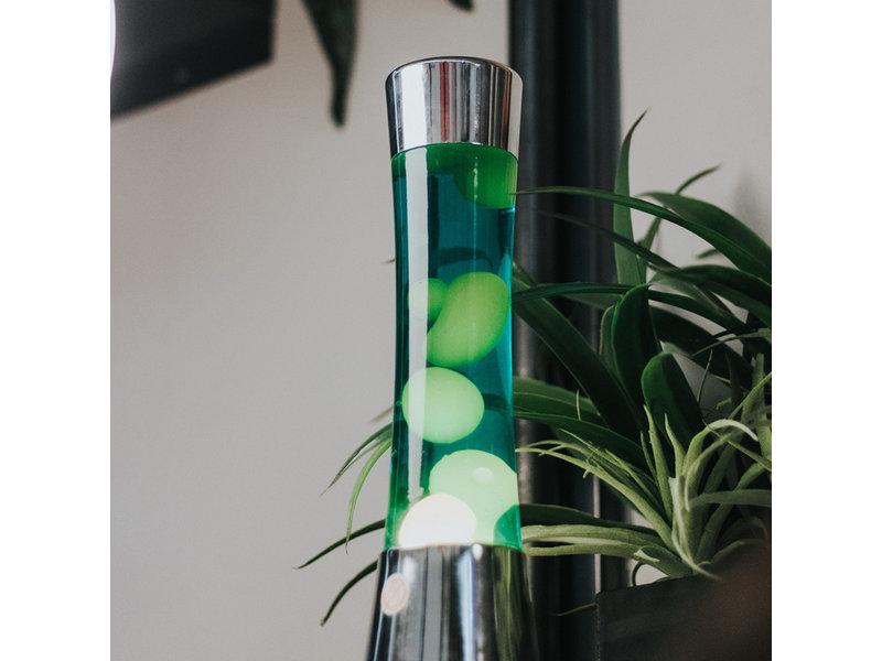 Fisura Fisura Lava Lamp - chroom - gele lava, groene vloeistof