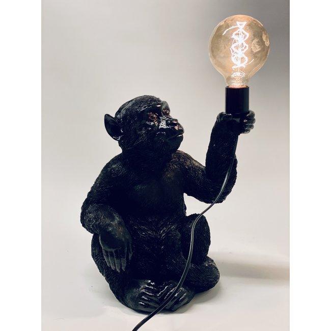 Tafellamp - Dierenlamp Zwarte Aap - zittend