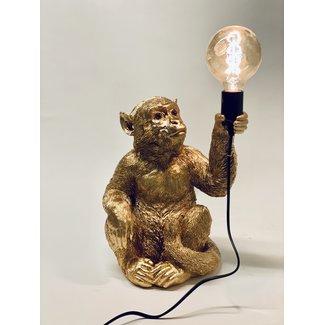 Lampe de Table Singe Doré - assis