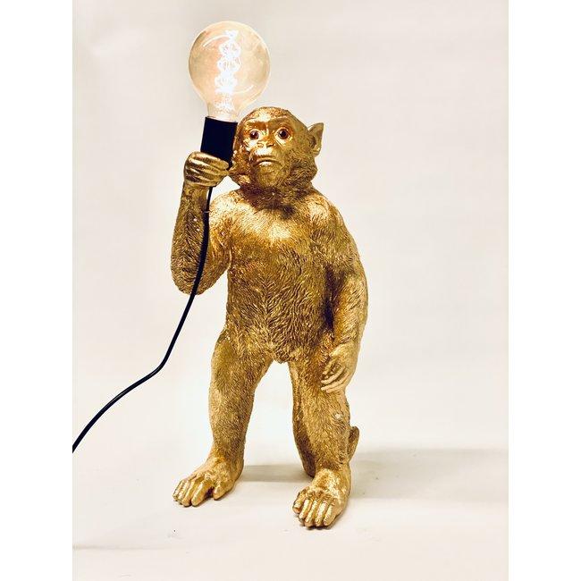 Tischlampe Goldener Affe - stehend