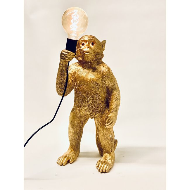 Tischlampe - Tierlampe Goldener Affe - stehend