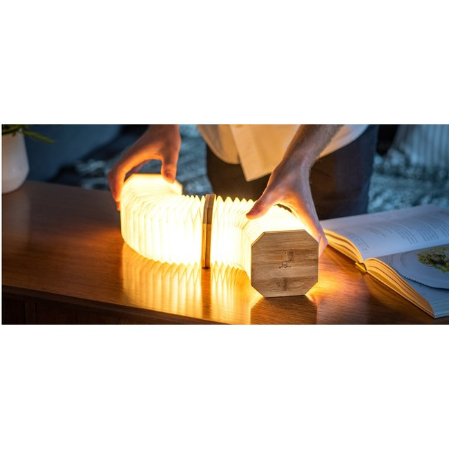 Gingko Smart Accordeon Lamp - notenhout