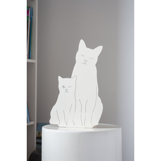 Goodnight Light Decoupage Lamp Kitties - white