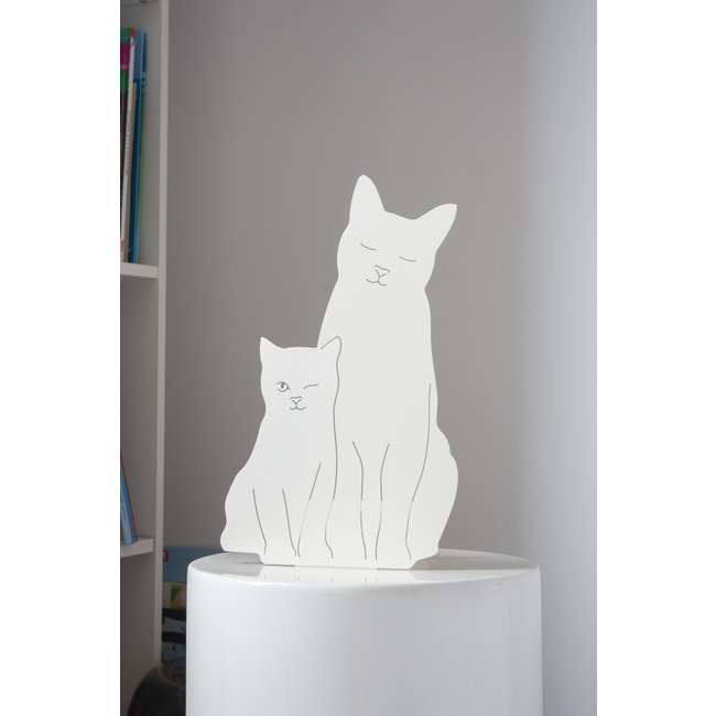 Goodnight Light Decoupage Lamp Kitties - white