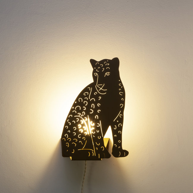 Goodnight Light Decoupage Lamp Golden Leopard
