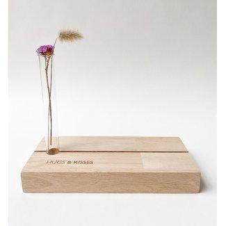 Photo Shelf with Vase Hugs & Kisses