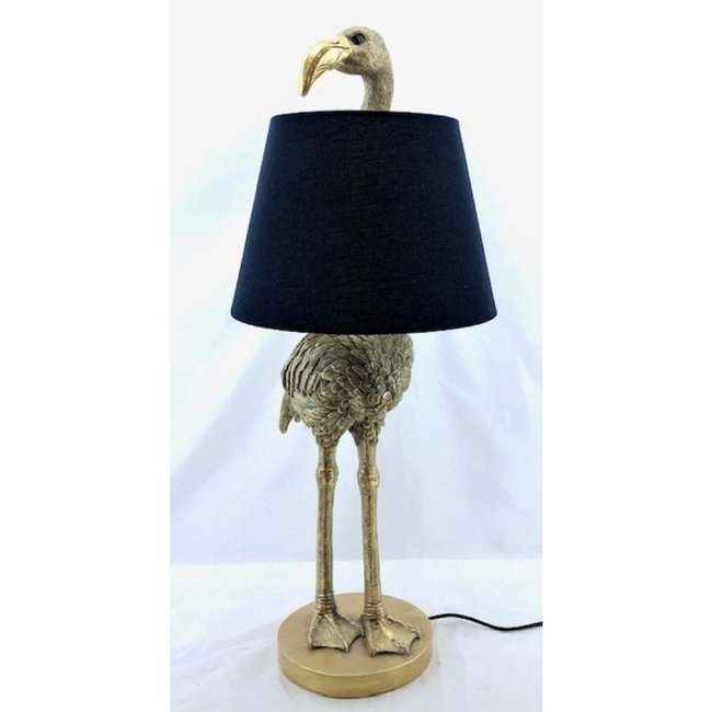 Table Lamp - Animal Lamp Golden Flamingo - with lampshade - H 71 cm