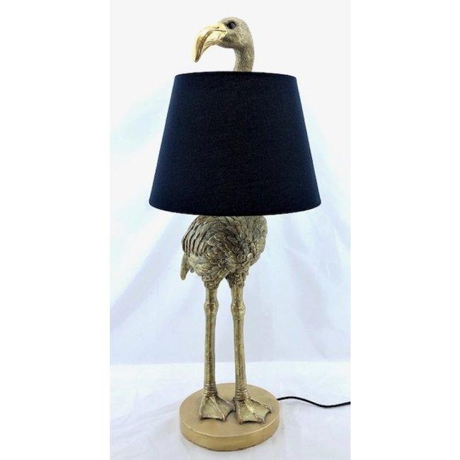 Tischlampe - Tierlampe Goldener Flamingo - mit Schirm - H 71 cm