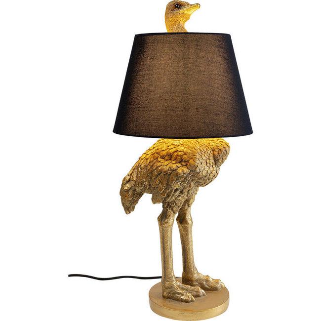 Karé Design - Lampe de Table - Lampe Animale Autruche Dorée - H 67 cm