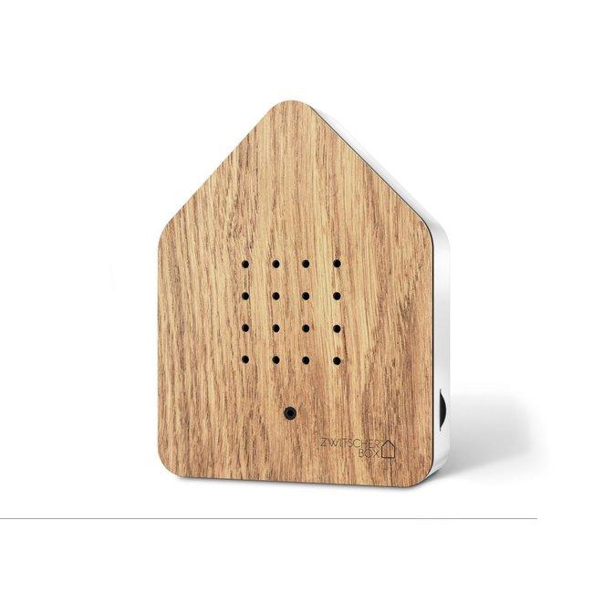 Zwitscherbox - Box Gazouillis Détecteur de Mouvement - Bruits d'Oiseaux - chêne/blanc