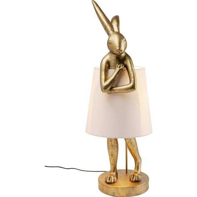 Karé Design - Lampe de Table - Lampadaire Animal Lapin - doré - XL - H 88 cm