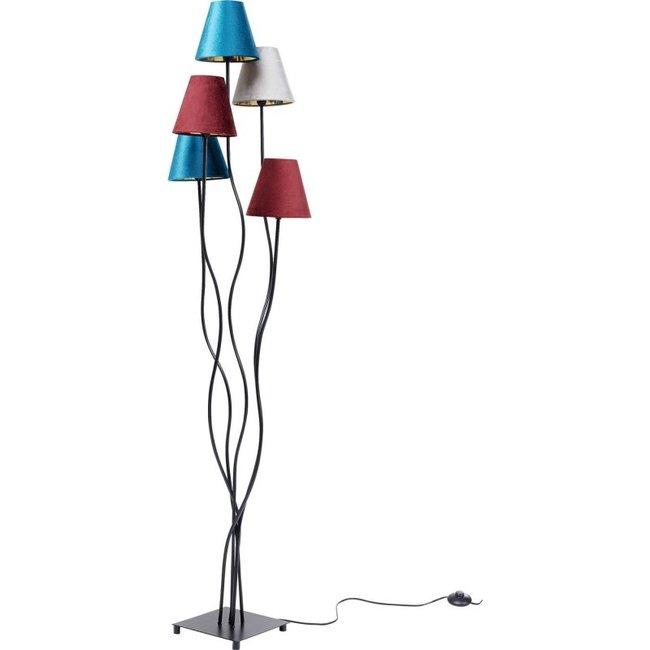 Karé Design Stehleuchte Flexible Samt - schwarz - 5 Lampenschirmen