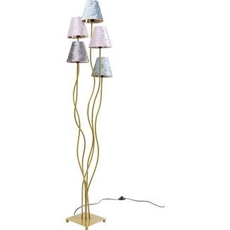 Karé Design Lampadaire Flexible Velvet - doré - 5 abat-jour