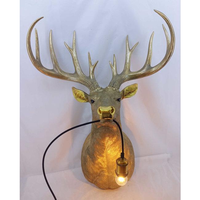 Wandleuchte - Tierlampe Goldener Hirsch XL