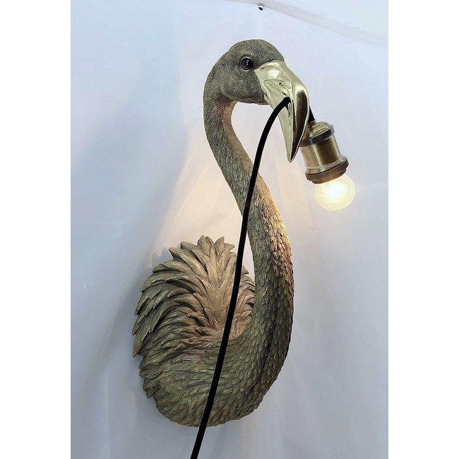 Wandleuchte - Tierlampe Goldener Flamingo