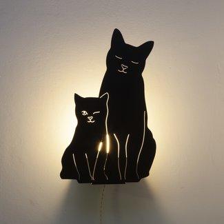 Goodnight Light Decoupage Lamp Kitties - black