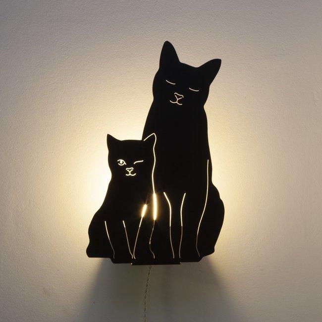 Goodnight Light - Decoupage Lamp Kitties - black