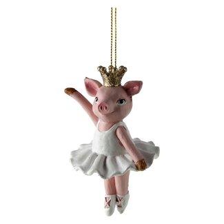 Werner Voß Christmas Hanger Dancing Pig with Crown