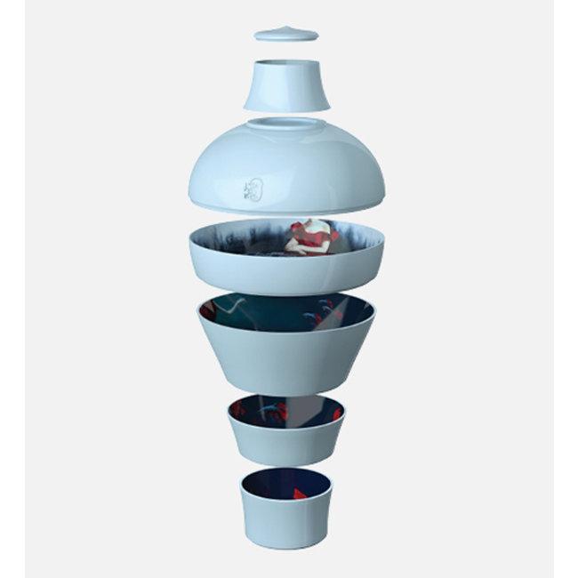 Ibride - Assiettes de Service / Bols de Service Ming - bleu abysses - set de 6 - empilable