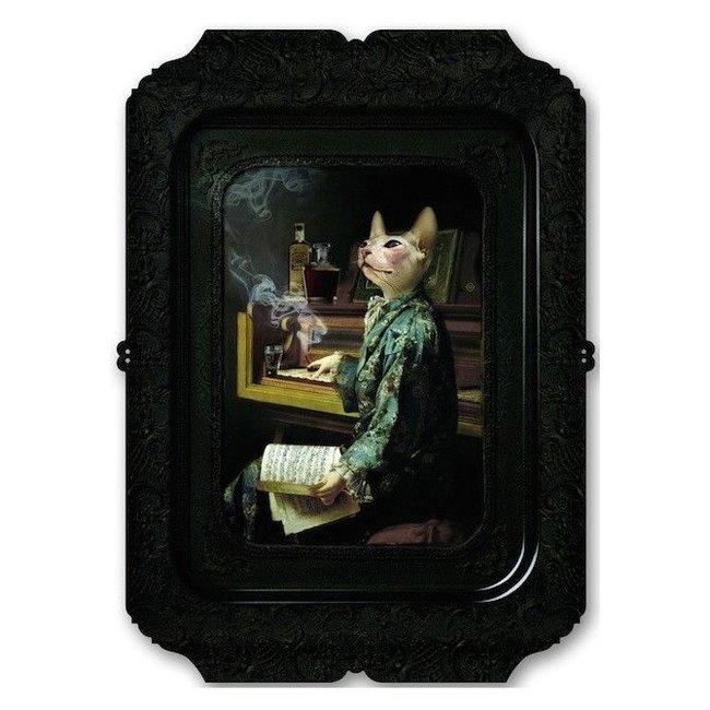 Ibride Tablett / Gemälde - Katze Lazy Victoire