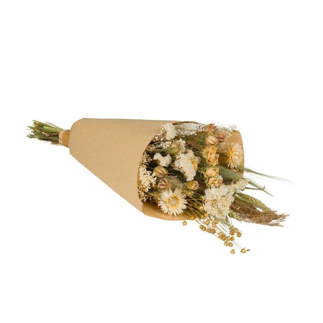 Plantophile Gedroogde Bloemen Boeket - naturel & wit