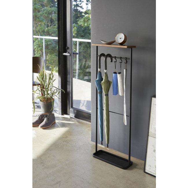 Yamazaki - Hanging Umbrella Stand with wooden shelf - black