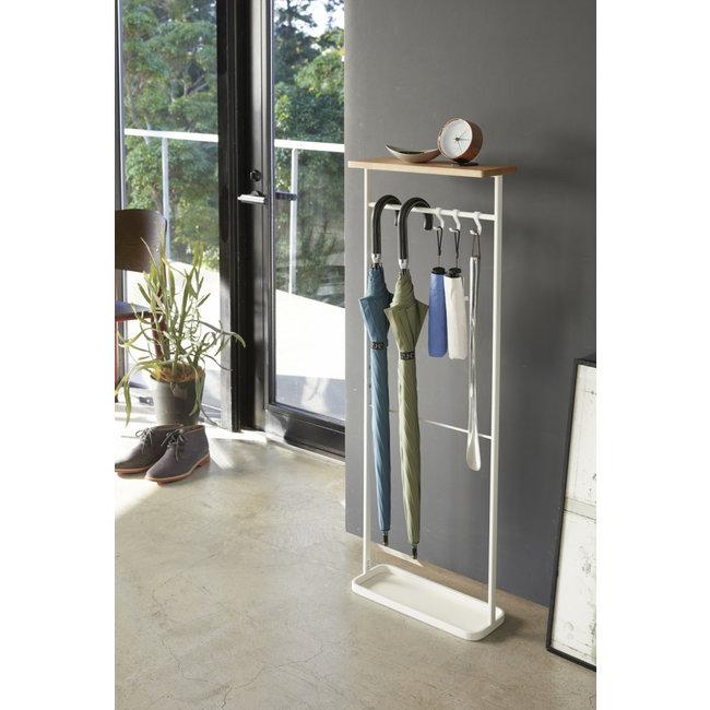 Yamazaki - Hanging Umbrella Stand with wooden shelf - white