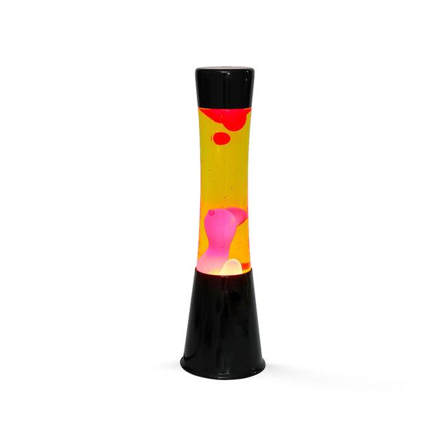 i-total Lampe à Lave  - jaune avec lave rouge - base noire