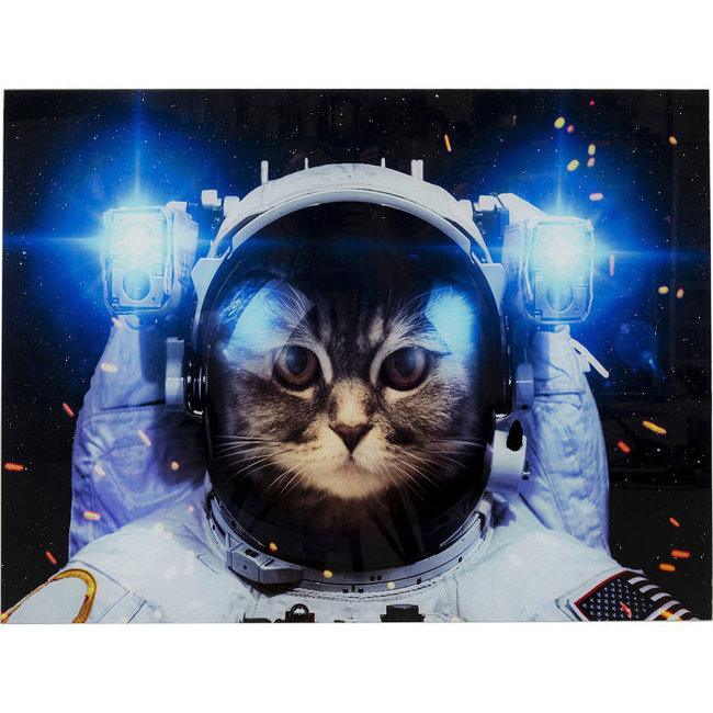Karé Design - Picture Glass Cat in Space - Wall Decoration Poster -  80x60