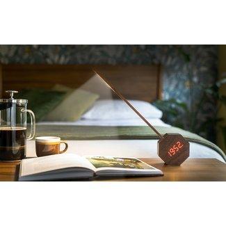 Gingko Desk Lamp & Clock Alarm Octagon One PLUS - walnut